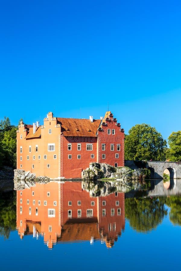 Palace Cervena Lhota, Czech Republic. Outdoors, outside, exteriors, europe, central, eastern, czechoslovakia, bohemia, architecture, building, castle, bridge stock photography