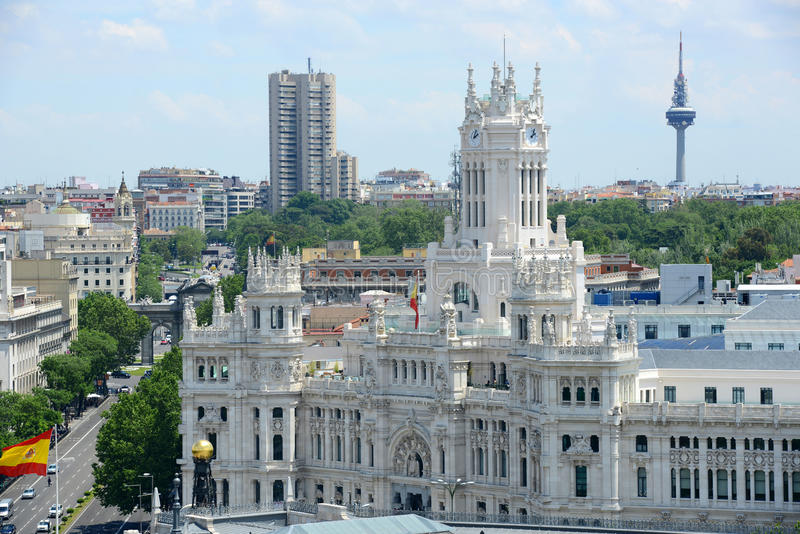 Palace of Communication, Madrid, Spain. Palace of Communication (Palacio de Comunicaciones) and Torrespaña (Spain Tower), Madrid, Spain stock images