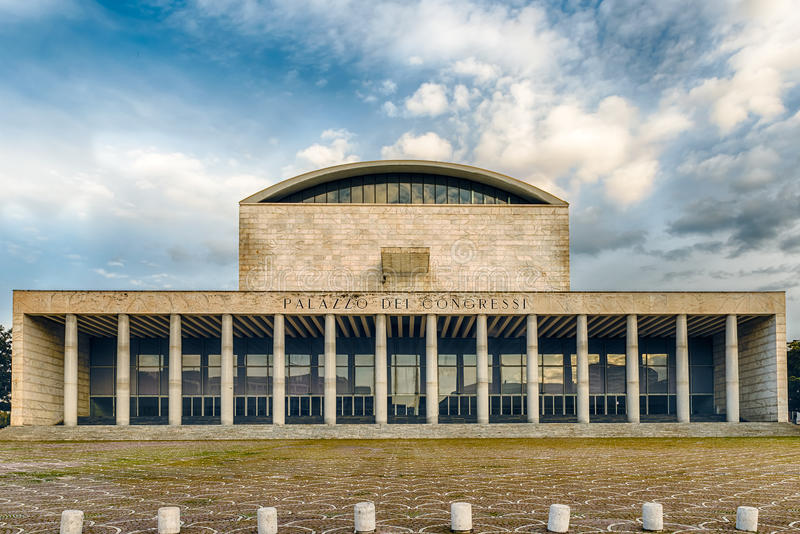Palace of Congress, Eur District, Rome, Italy. The scenic Palazzo dei Congressi (Palace of Congress) in the Eur District, Rome, Italy royalty free stock photography