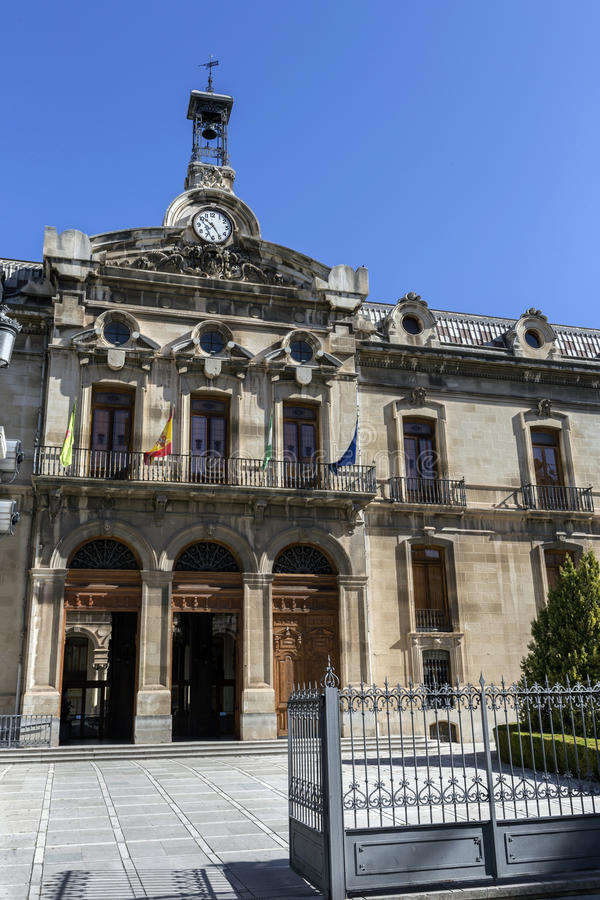 Palace of the County council of Jaen, the neoclassical facade is stock photography