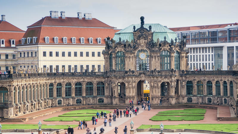 Palace courtyard of Zwinger in Dresden, Germany. Bellflower Pavilion. Travel photo. Palace courtyard of Zwinger, one of the oldest buildings in Dresden, Germany stock image