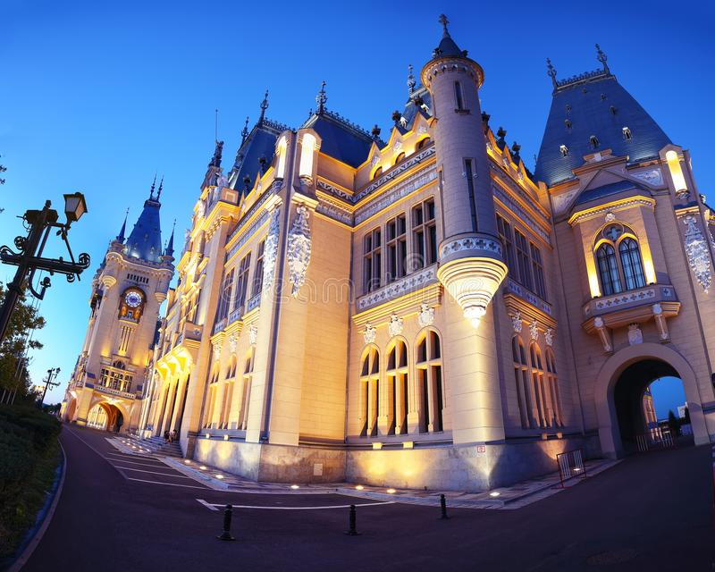 The Palace of Culture edifice in Iasi, Romania. The Palace of Culture edifice in Iasi . Fantastic evening scene summer cityscape of Iasi town, capital of stock image