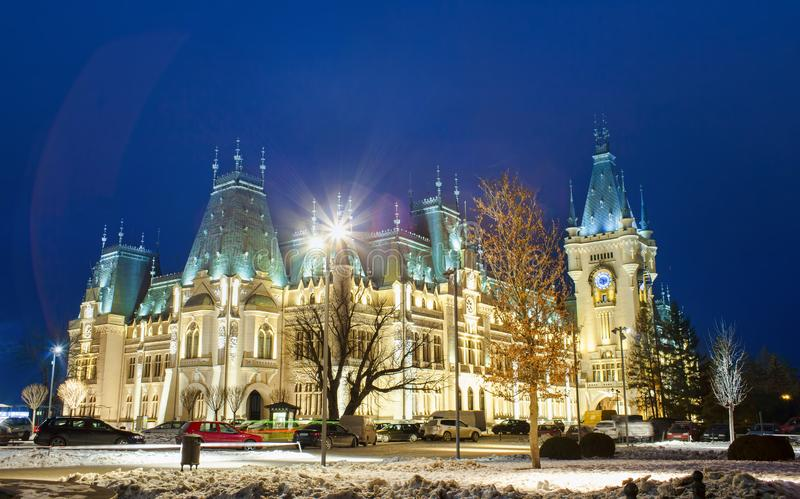 Palace of Culture in Iasi city, Romania. Night scene royalty free stock image