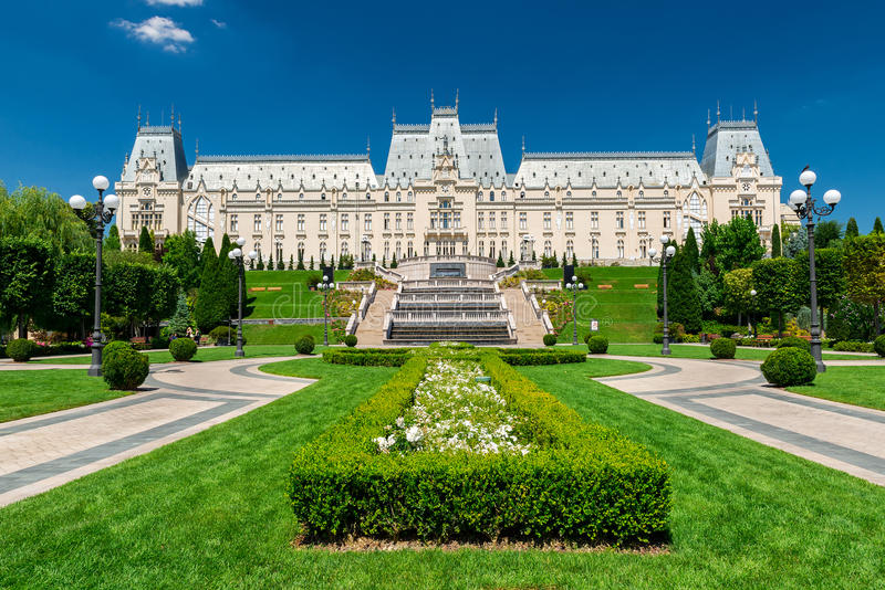 Palace of Culture in Iasi, Romania. IASI, ROMANIA - AUGUST 03, 2015: Palace of Culture is the main attraction point of the Moldavian capital, it hosts today The royalty free stock image