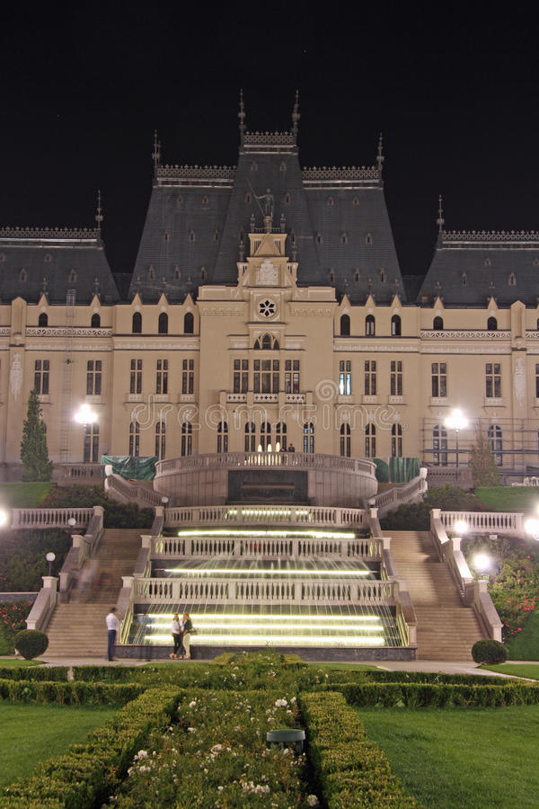 Palace of Culture in Iasi (Romania) at night royalty free stock image