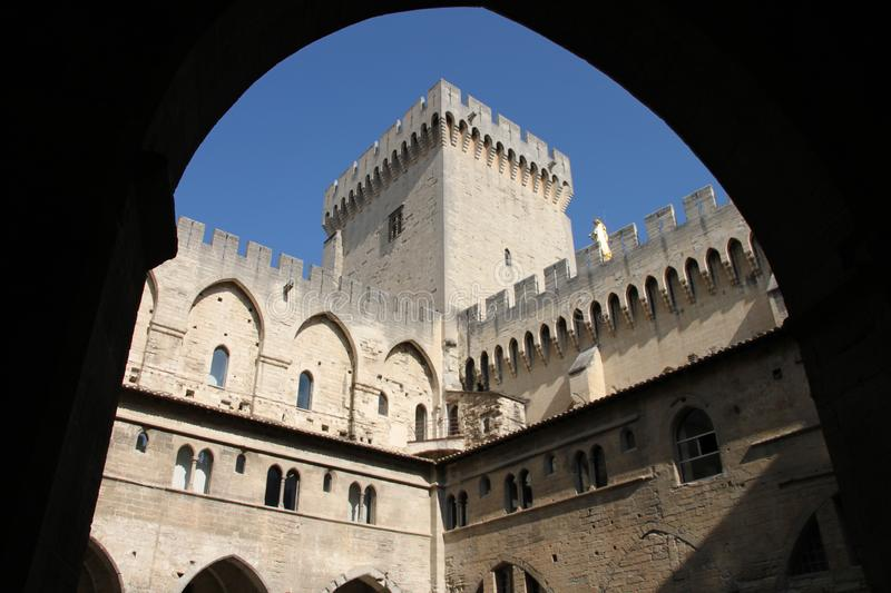 Palace des Papas in Avignon from arcade point of view royalty free stock images