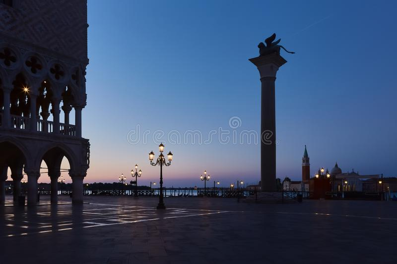 Palace of doges on the square San Marco before sunrise in Venice, Italy royalty free stock images