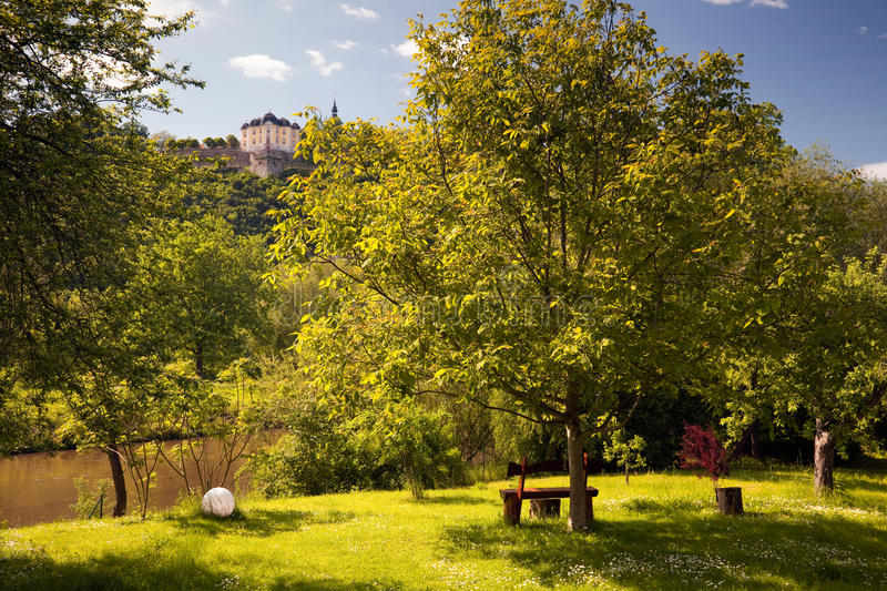Palace Dornburg overlooking a idyllic park. On the river Saale stock photography