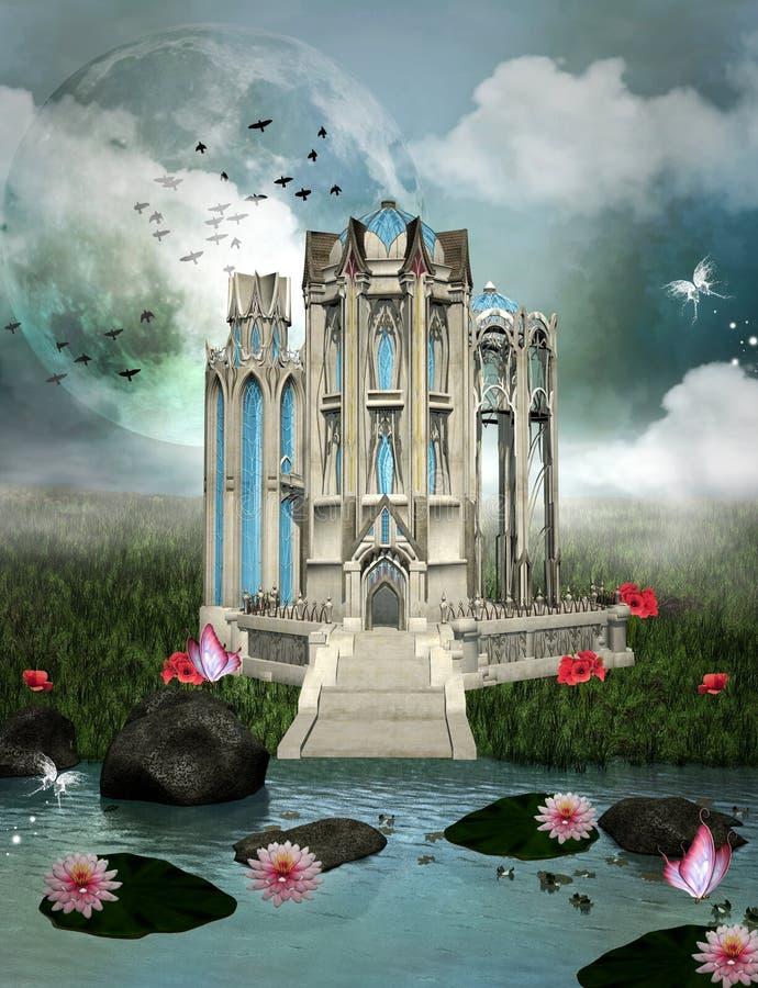 Palace of dreams. Fantasy palace in a magic garden vector illustration