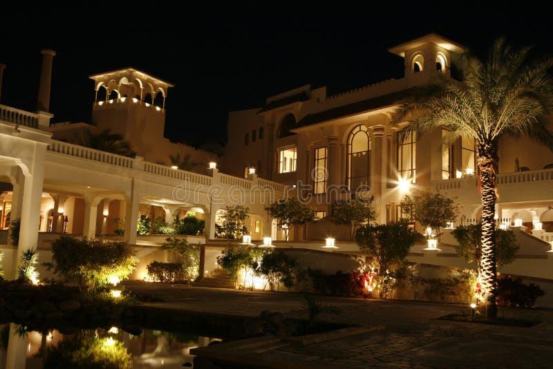 Palace in Egypt at night. Palace Egypt with illumination. Night scene royalty free stock images
