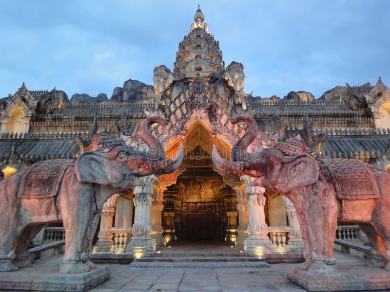 Palace of the elephants. Entrance: the amazing art of ancient Thai architecture (Phuket Fantasea stock illustration
