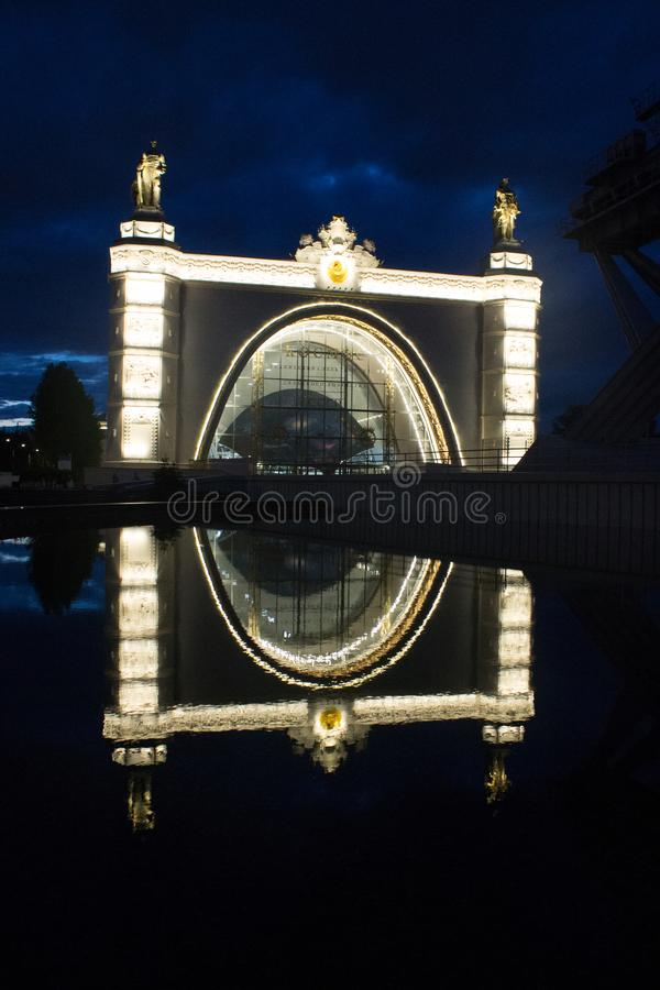 Palace of the exhibition of achievements of the national economy summer night Moscow Russia. Luxury Palace c exhibition of achievements of national economy stock image