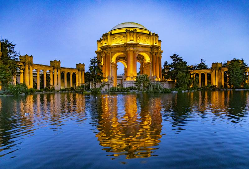 The Palace of Fine Arts in the Marina district by night, San Francisco. SAN FRANCISCO, USA - MAY 1, 2019: The Palace of Fine Arts in the Marina district by night stock photography