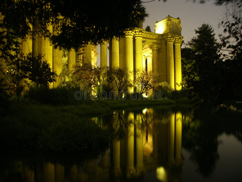 Palace of Fine Arts at Night royalty free stock image