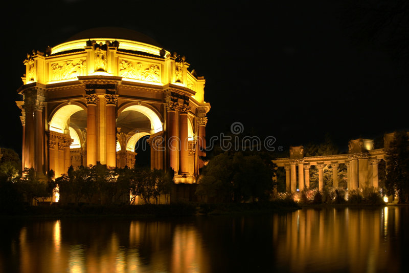 Palace of Fine Arts at night stock photography