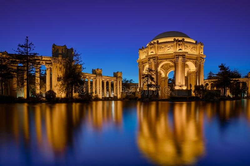 Palace of Fine Arts at Night stock images