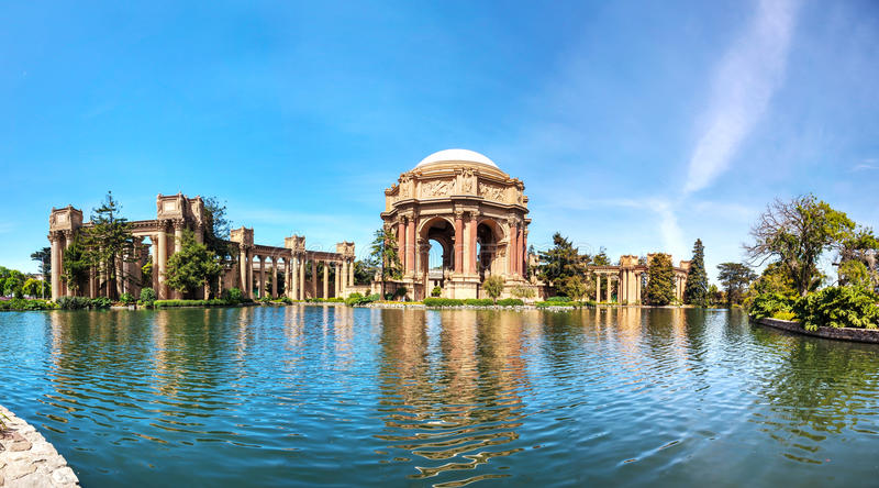 The Palace of Fine Arts panorama in San Francisco royalty free stock photography