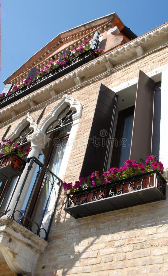 Palace with flowers. Photo made in Venice (Italy). The picture shows from the bottom up the top of an elegant building located in the Dorsoduro district. The stock image