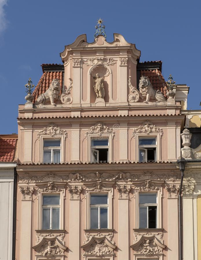 The Palace of the former Municipal Insurance Comapny, north side of Old Town Square, Prague, Czech Republic. Pictured is The Palace of the former Municipal stock photography