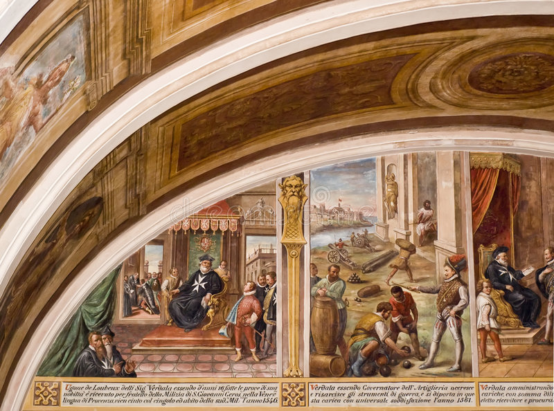 Palace Frescoes. View of the grand medieval frescoes at Verdala Palace in Malta royalty free stock photos