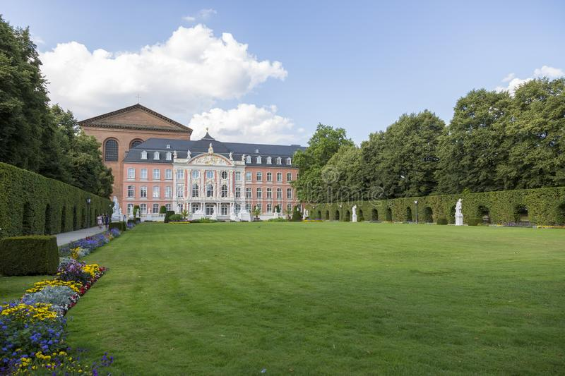 Palace garden in front of the Prince-elector Palace in the center of Trier stock images