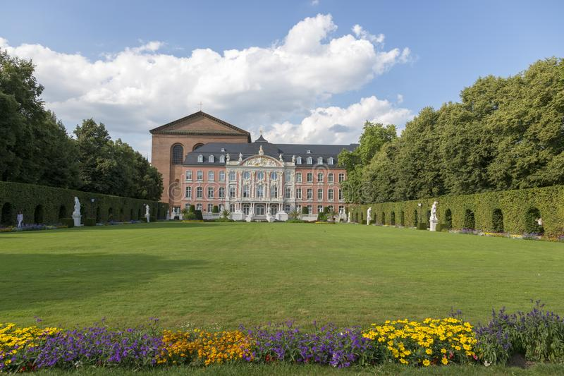 Palace garden in front of the Prince-elector Palace in the center of Trier stock photography