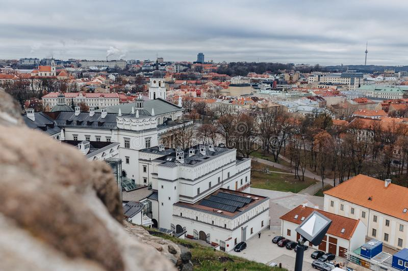 Palace of the Grand Dukes of Lithuania, aerial view, Vilnus, Lithuania royalty free stock images