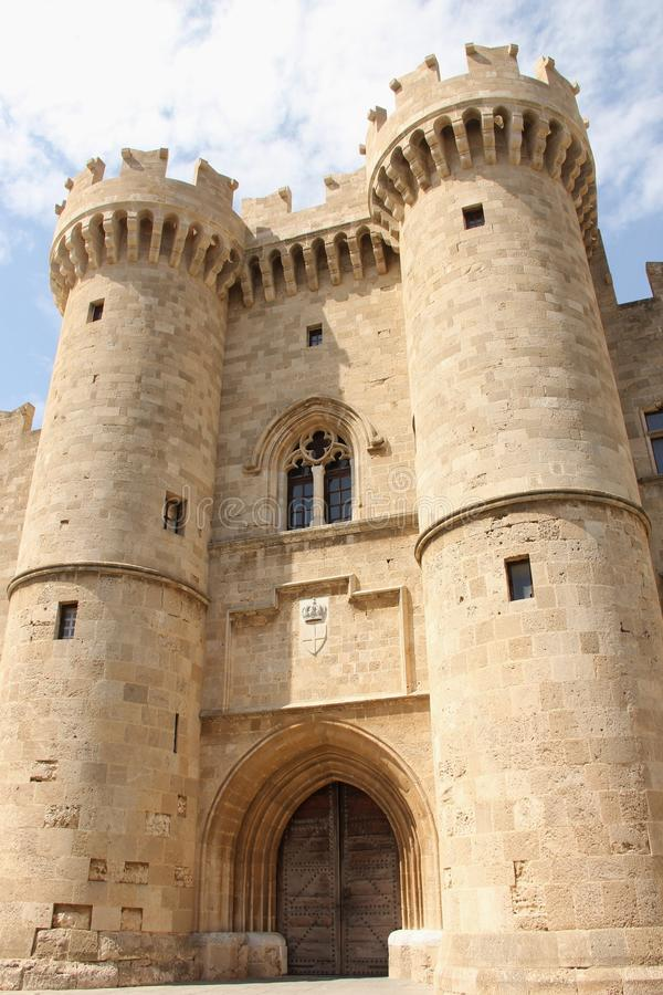Palace of the Grand Masters. The entrance gate to the Palace of the Grand Masters on the island of Rhodes, Greece royalty free stock photography