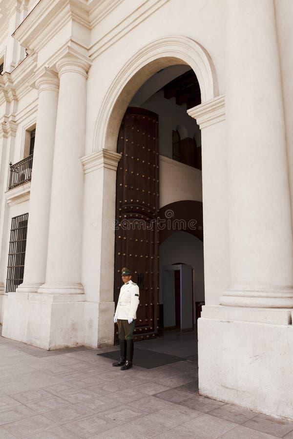 Palace guard La Moneda Palace, Santiago de Chile stock image