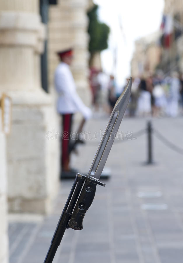 Palace Guards bayonet Malta. SLR bayonet carried by the Palace Guards, at the Grand Palace, Valetta, Malta stock image
