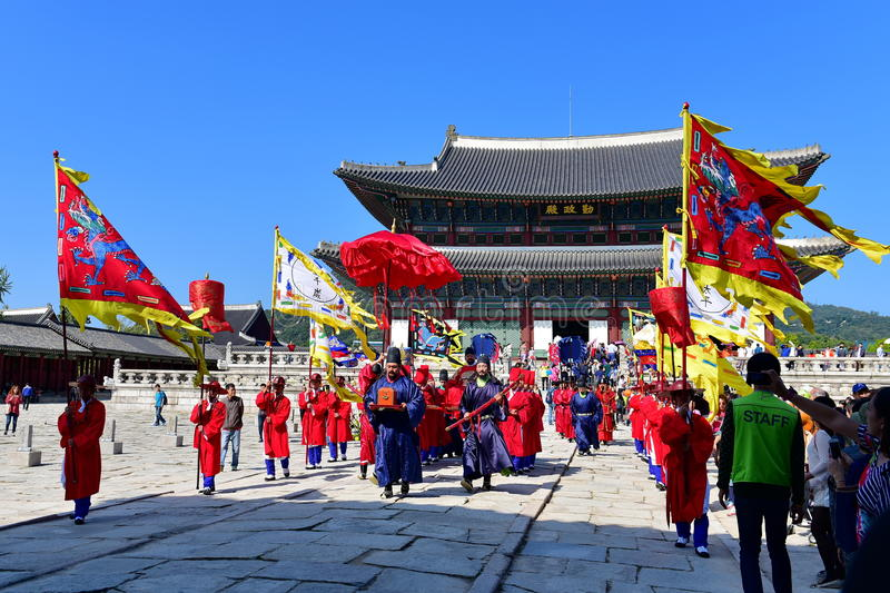 Palace guards inspection ceremony taking place at Gyeongbokgung Palace. SEOUL - OCTOBER 5: Palace guards inspection ceremony taking place at Gyeongbokgung Palace stock photo