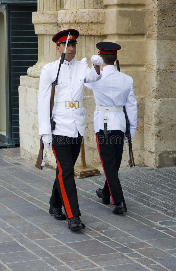 Palace Guards, Malta. Changing of the Palace Guards, at the Grand Palace, Valetta, Malta. September 2012 royalty free stock photos