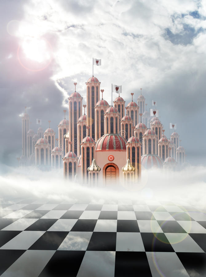 Palace of hearts. Palace of queen of hearts in wonderland stock illustration
