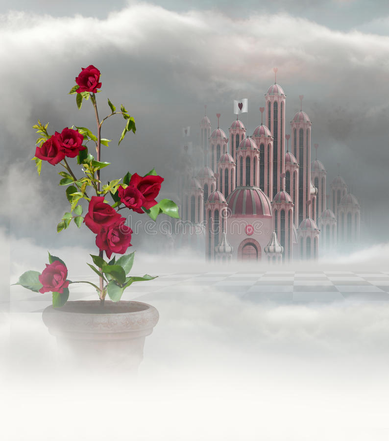 Palace of hearts and roses. Palace of queen of hearts in wonderland with red roses in vase in foreground vector illustration