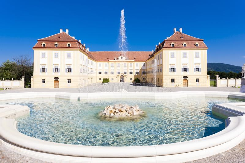 Palace Hof with a fountain, Lower Austria, Austria. Outdoors, outside, exteriors, europe, central, schloss, architecture, building, castle, baroque, history royalty free stock photos