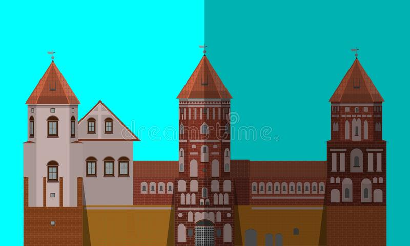 Palace icon. Flat image, front building royalty free illustration