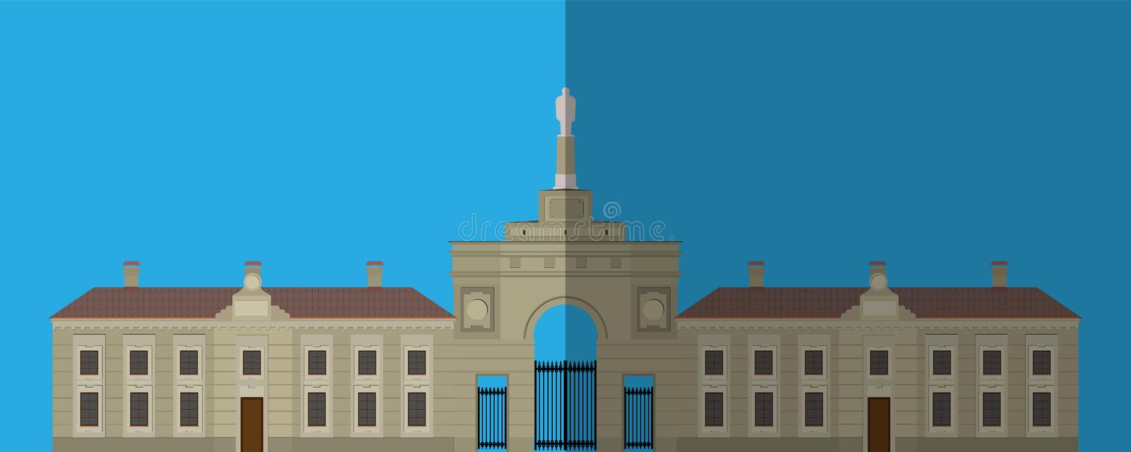 Palace icon. Flat image. Is a large monumental front building, vector illustration stock photos