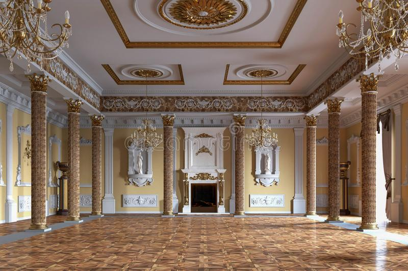 Palace interior. 3D rendering. Interior of luxury classic palace. 3D rendering vector illustration