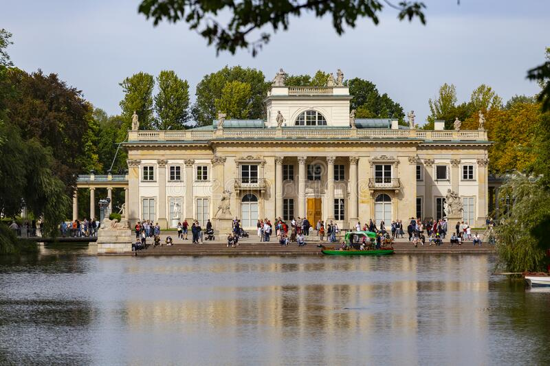 Palace on the Isle or Baths Palace in Warsaw stock photo