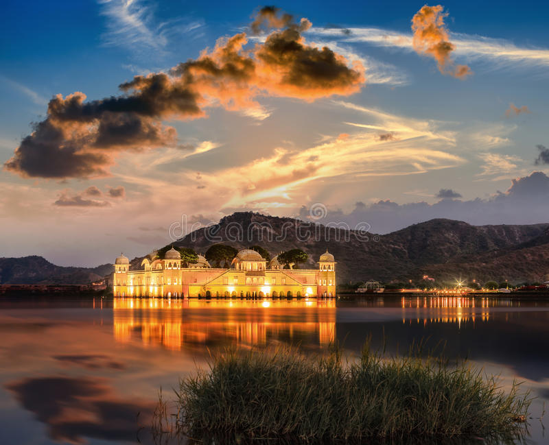The Palace Jal Mahal at sunrise. Jal Mahal Water Palace on Man stock images