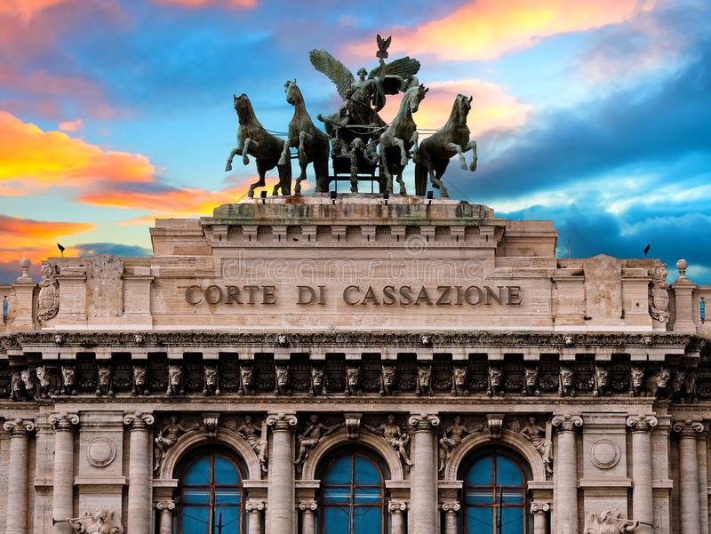 Palace of justice or court exterior facade Rome Italy at sunset or sunrise stock photography
