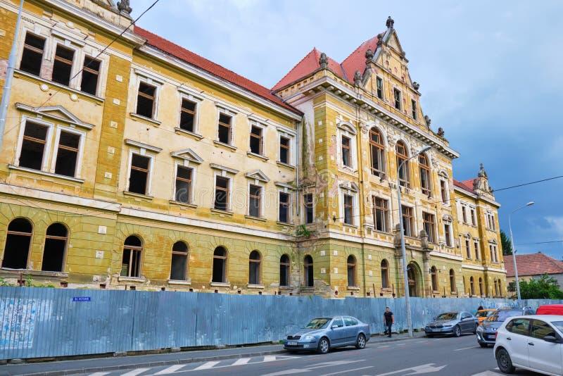 Palace of Justice Palatul de Justitie abandoned historical building near city center. Sibiu, Romania - July 11, 2019: Palace of Justice Palatul de Justitie stock image