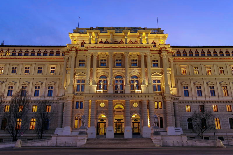 Palace of Justice, at night - landmark attraction in Vienna, Austria. Palace of Justice illuminated at night - landmark attraction in Vienna, Austria stock images