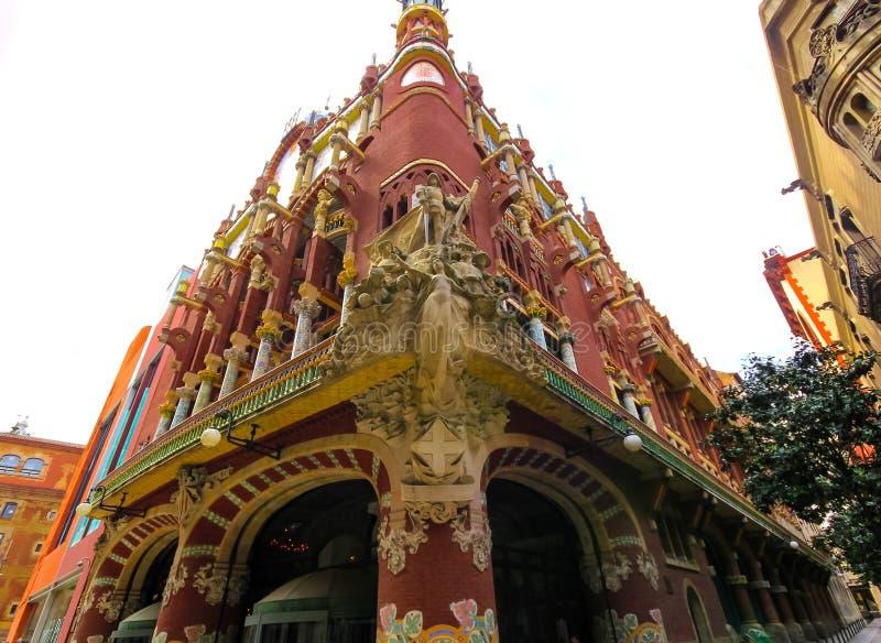 Palace kallad Palau De La Musica Orfeo Catala, Barcelona, Katalonien, Spanien arkivbild