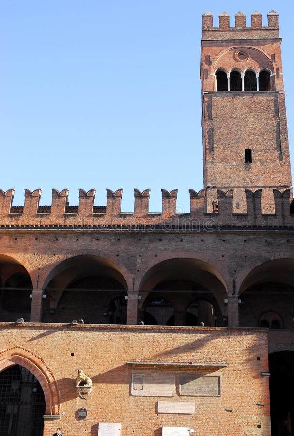 Palace of King Enzo illuminated by the morning sun in the city center in Bologna in Emilia Romagna (Italy) stock image