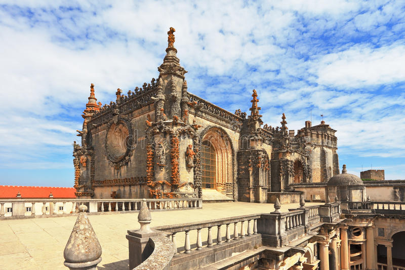 Palace of the Knights Templar. Beautifully preserved and restored monument of medieval architecture. Palace of the Knights Templar in Tomar. Portugal royalty free stock photo