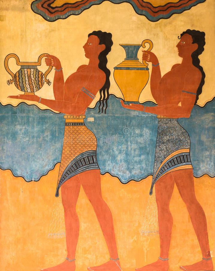 Cup Bearer Fresco Knossos Crete Greece. Replica of a Minoan Cup Bearer fresco depicting kilted men carrying pottery in procession. South Propylaeum, Knossos royalty free stock photo