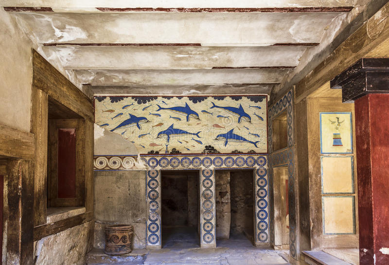 The Palace of Knossos, fresco depicting dolphins, unknown artist. about 1800-1400 BC. Heraklion, Crete. Greece stock photo