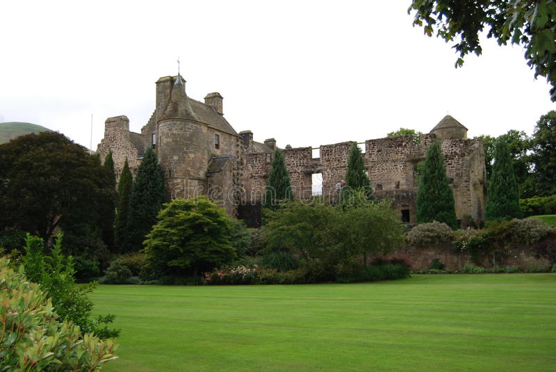 Palace and Lawn. A view of Falkland Palace from across the manicured lawn stock photo