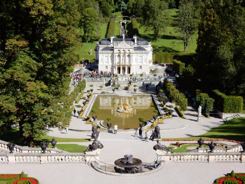 Romantic castle Palace Linderhof - Neo-Rococo style - Germany. Palace Linderhof - Schloss Linderhof - Romantic castle built in Neo-Rococo style - Germany stock photo